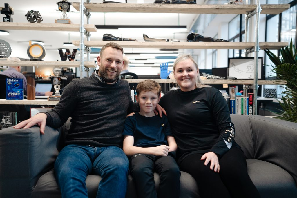 Jacob with him mum and dad